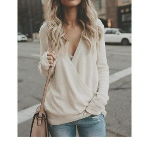 Sweaters - Off White Cross Front Sweater
